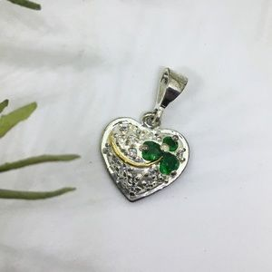 Heart shaped pendant green shamrock and silver